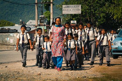 Nepalese teacher and schoolchildren in Pokhara - 2011