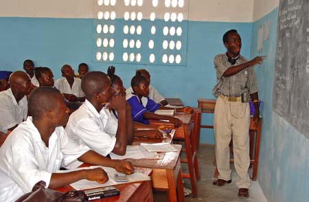 Classroom at a secondary school in Pendembu, Sierra Leone
