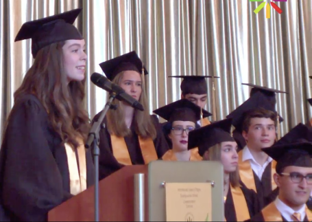 Isabella Wilkinson speaking for her fellow graduates